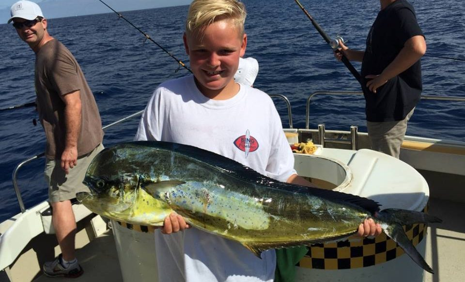 Kid Catches Large Dorado Fish Taxi Oceanside CA